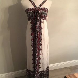 Xhilaration white print boho maxi dress